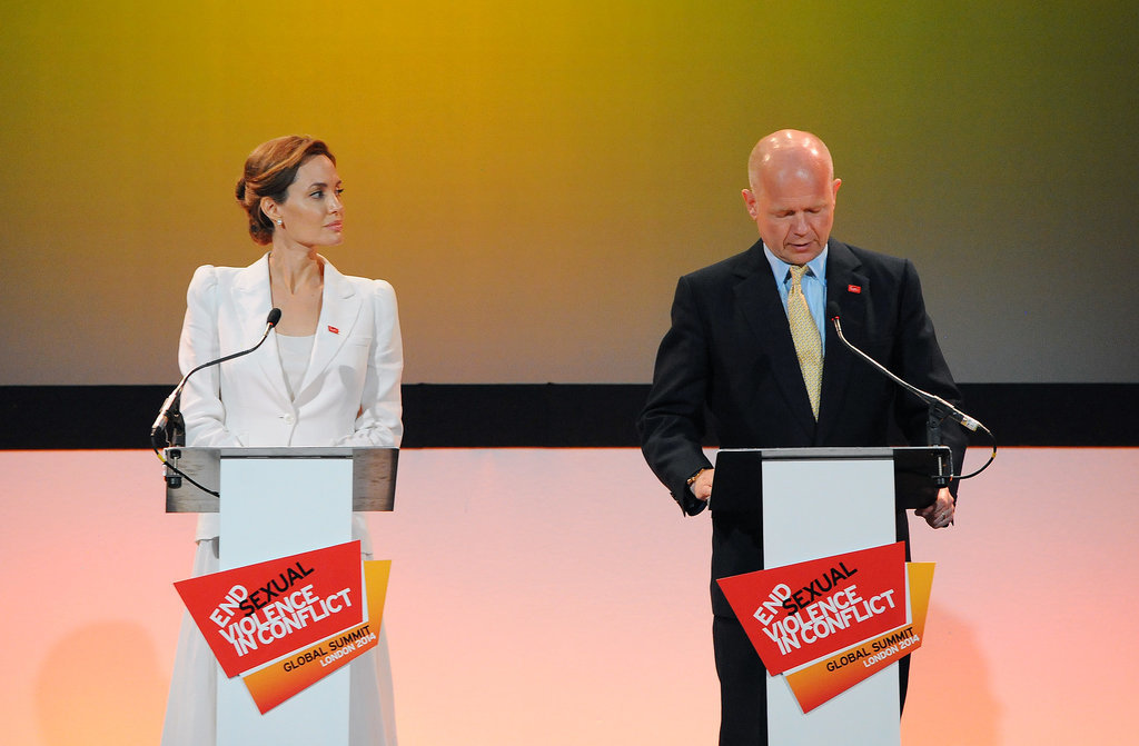 In June 2014, Angelina led the world's biggest anti-rape summit in London when she hosted the Global Summit to End Sexual Violence in Conflict. She was joined by Britain's Foreign Secretary William Hague, with whom she has been partnering up to raise awareness about rape in war zones.