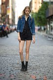 This all-black look was primed for Summer with a knotted button-down, a classic jean jacket, and cool cutoffs.