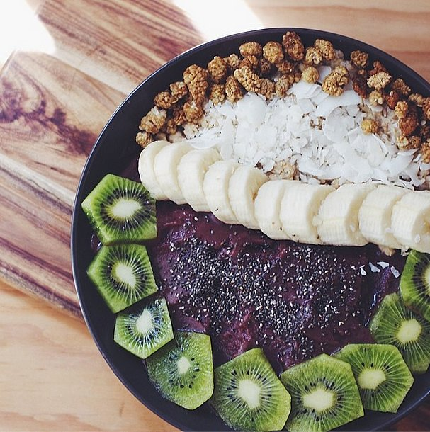 If you love coconut, use coconut milk or water in the smoothie base and for added texture, sprinkle your acai bowl with rich and delicious coconut flakes.  Source: Instagram user brewinghappiness