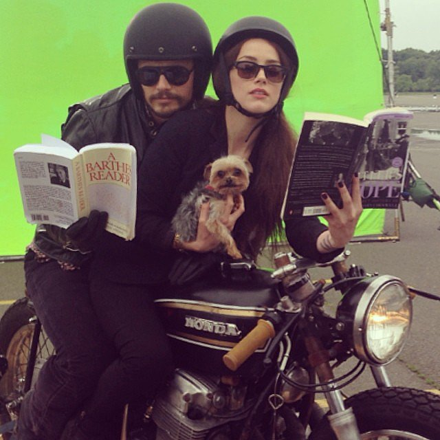 James Franco rode a motorcycle with Amber Heard and her dog, Pistol, on the Adderall Diaries set. Source: Instagram user jamesfrancotv