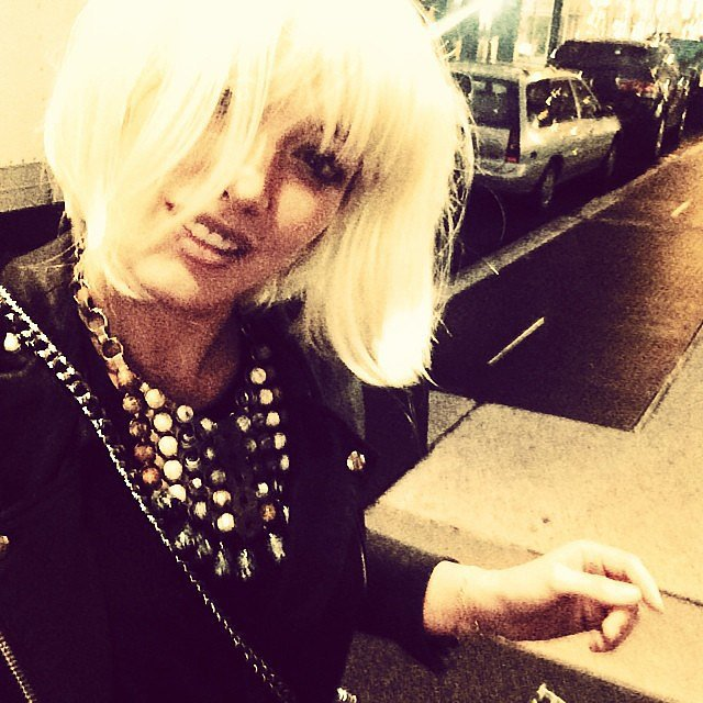 Hilary Duff channeled her inner Sia with a bob wig. Source: Instagram user hilaryduff