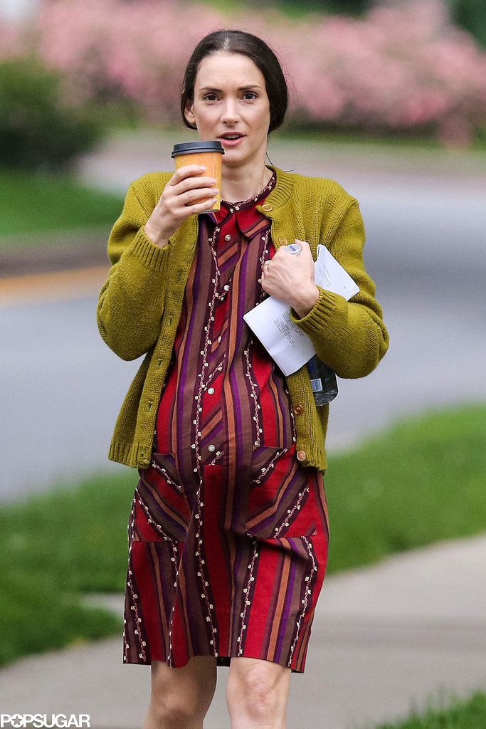 Winona Ryder wore a fake baby bump while filming Experimenter in Brooklyn on Thursday.