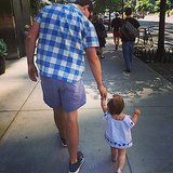 "Jenna Bush Hager showed off her new little walker, Mia, in this Father's Day shot, saying, ""Happy Father's Day to the most fun and loving papa on the block. Love you."" Source: Instagram user jennabhager"
