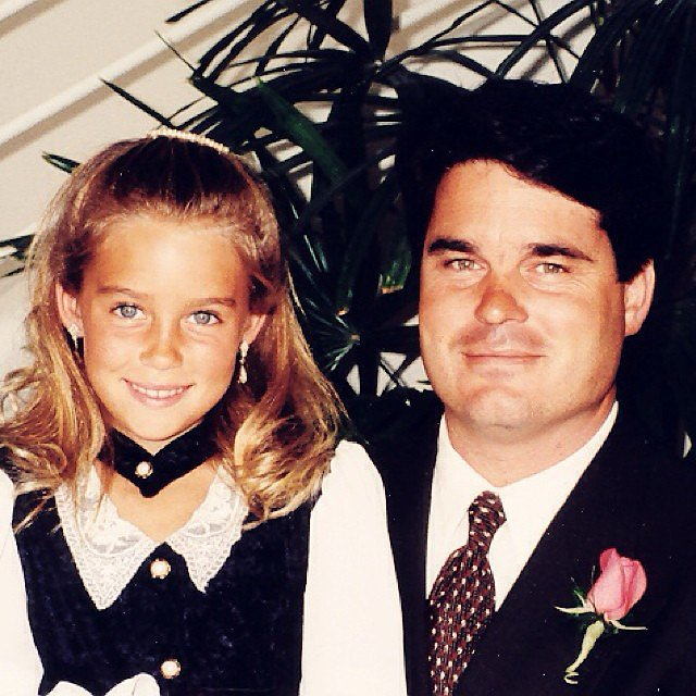 Lauren Conrad and her dad were dressed up when this childhood photo was taken. Source: Instagram user laurenconrad