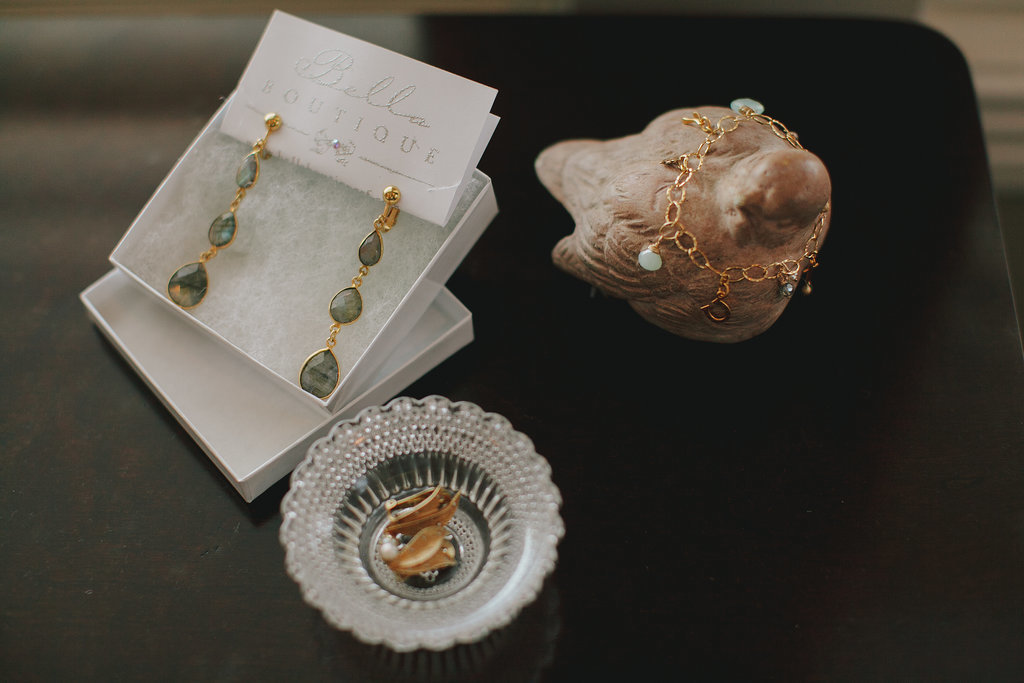 The bride and bridesmaids' jewelry was made by hand from the ladies at Bella Boutique. Photo by Jake and Necia