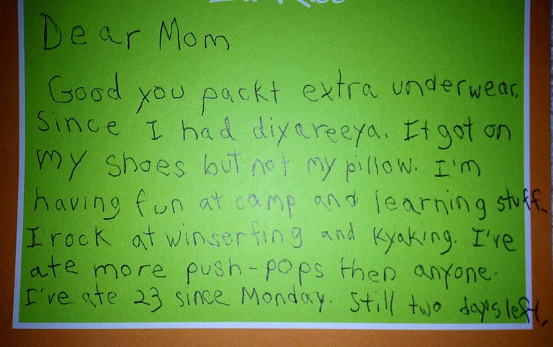 Little Boy Sends the Funniest Letter From Camp