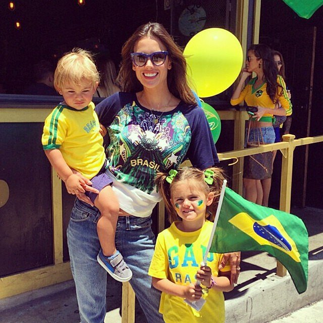 Alessandra Ambrosio cheered on her hometown team along with her kids, Anja and Noah Mazur. Source: Instagram user alessandraambrosio