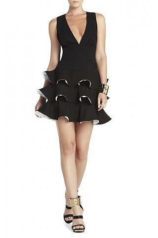 BCBG Black Dress Katia Paneled Waist Cutout Back Tiered Ruffled Skirt