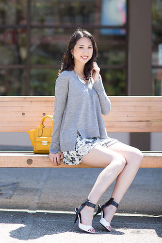 Asymmetrical Sweater & Floral Shorts