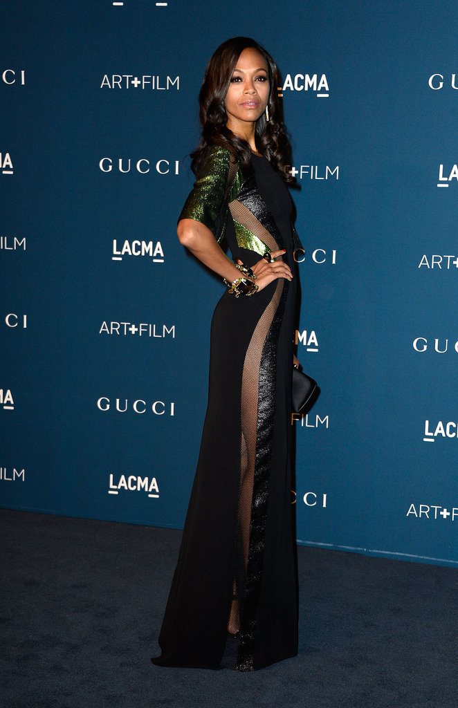 A glittering Gucci gown, with strategically placed sheer insets, for the 2013 LACMA Art + Film Gala.