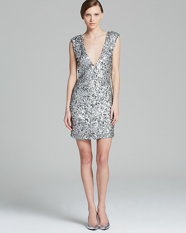 Alice + Olivia Sequined V-Neck Dress