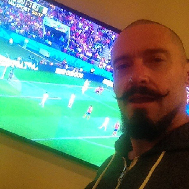"Hugh Jackman said he was ""ADDICTED"" to watching the game on Sunday. Source: Instagram user thehughjackman"