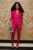 Hot stuff, coming through! At the Gucci Beauty launch event, Solange lit up the room in her hot pink suit.