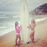 Lea's surfboard in Mexico was twice her size! Source: Instagram user msleamichele