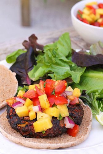Jamaican Jerk Burgers with Mango Salsa - Eat Spin Run Repeat