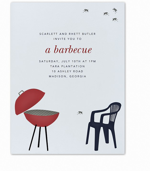This barbecue and mosquito card  (free) will have your friends buzzing about your Summer party.
