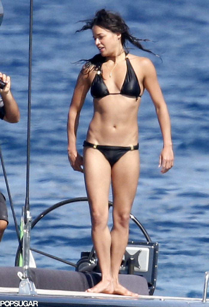 Michelle Rodriguez showed off her bikini body on a yacht in Sardinia, Italy on Friday.