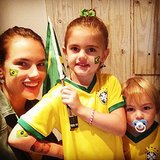 Alessandra Ambrosio geared up to watch Brazil go up against Chile with her kids, Anja and Noah Mazur. Source: Instagram user alessandraambrosio