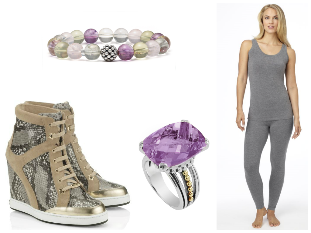 Cuddl Duds Jimmy Choo Sneakers separates grey tank and pants Lagos Jewelry