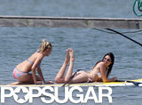 Kendall Jenner wore a bikini while paddleboarding with a friend on Tuesday in the Hamptons.