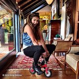 Nina Dobrev rode a tiny bike. Source: Instagram user ninadobrev