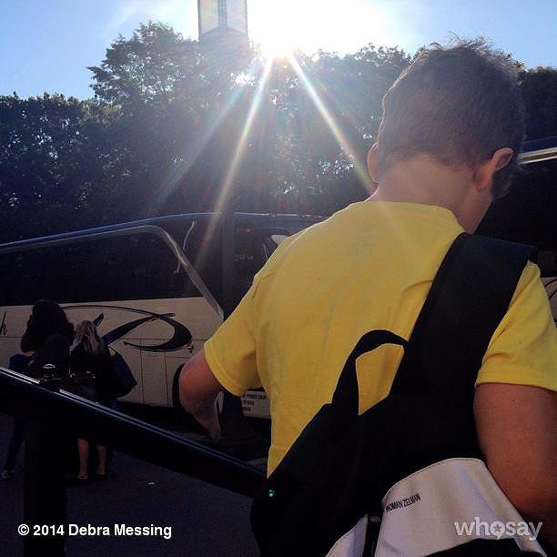 Debra Messing's son, Roman, went off to sleep-away camp for the Summer. Source: Instagram user therealdebramessing