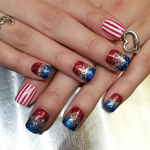 This gradient glitter will have your fingers sparkling brighter than any firework. Source: Instagram user darcykleven