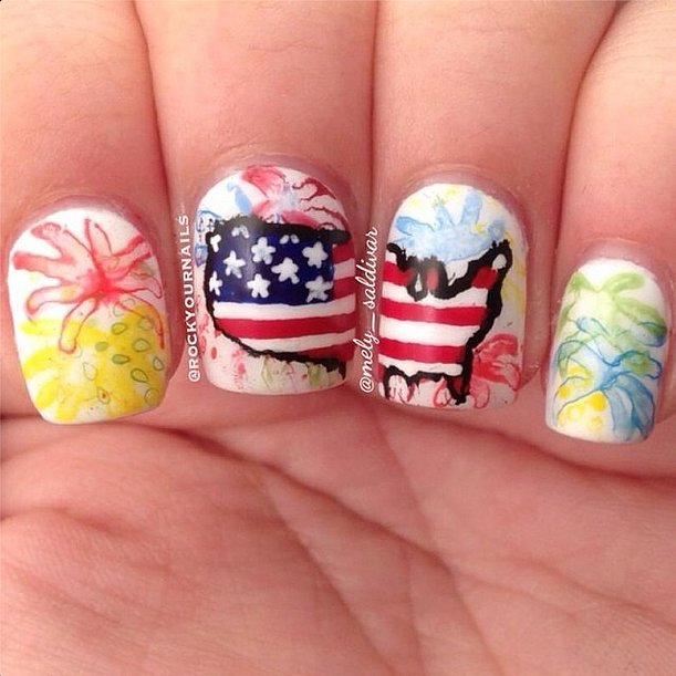 Fireworks and the entire continental United States? If this isn't the most patriotic manicure you've ever seen, we'd like to see what is. Source: Instagram user rockyournails