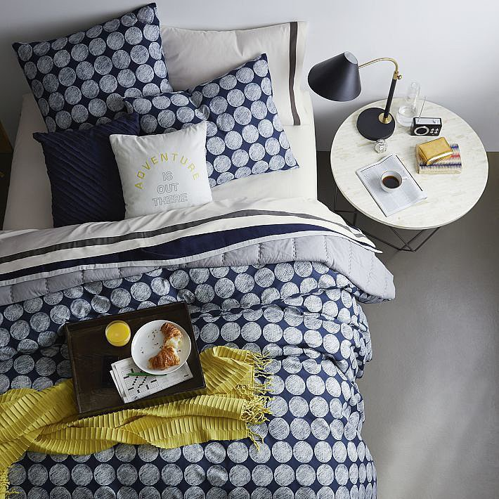 Printed in a whimsical chalkboard dot pattern, this duvet ($69) is a fresh take on navy.