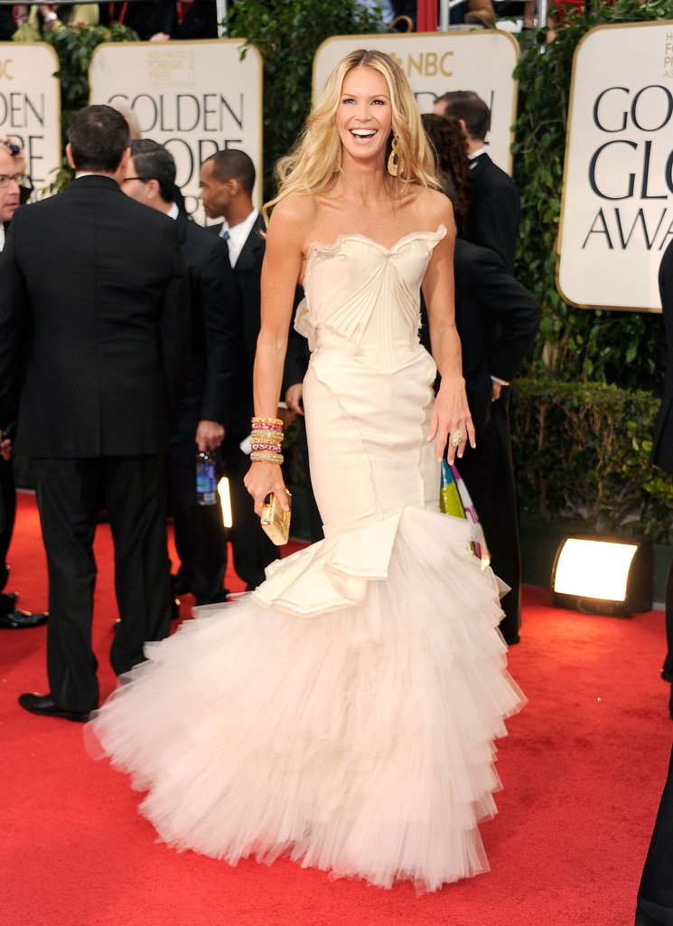 "Proving that she is still indeed ""the body,"" Elle Macpherson wore this statement Zac Posen dress with a tiered fishtail to the Golden Globes in 2012."