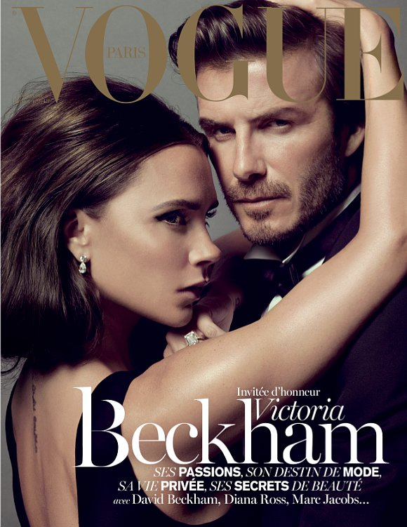 Couples shot! The Beckhams landed a Vogue cover in December 2013. Source: Twitter user victoriabeckham