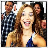 Star Alexis Knapp caught costar Astin in the background. Source: Instagram user alexisknapp