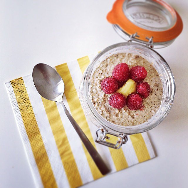 Overnight oats in a jar — oh my! Aside from the oats, this jar is filled with the goodness of chia, banana, raspberries, and pumpkin seeds.  Source: Instagram user bitesonstripes