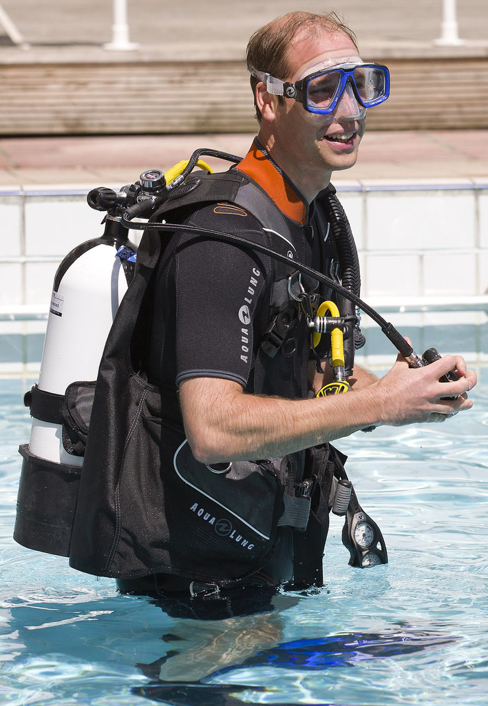 Prince William went snorkeling with the British Sub-Aqua Club in London on Wednesday.