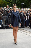 Nina Dobrev showed off her stems at the Chanel show on Tuesday at Haute Couture Fashion Week in Paris