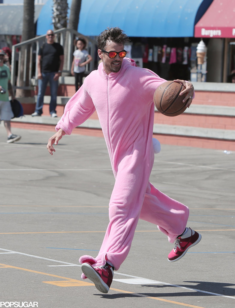 Josh Duhamel played basketball in a bunny suit on Wednesday in Venice Beach, CA.