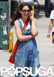 Katie Holmes laughed while talking on the phone in NYC on Thursday.