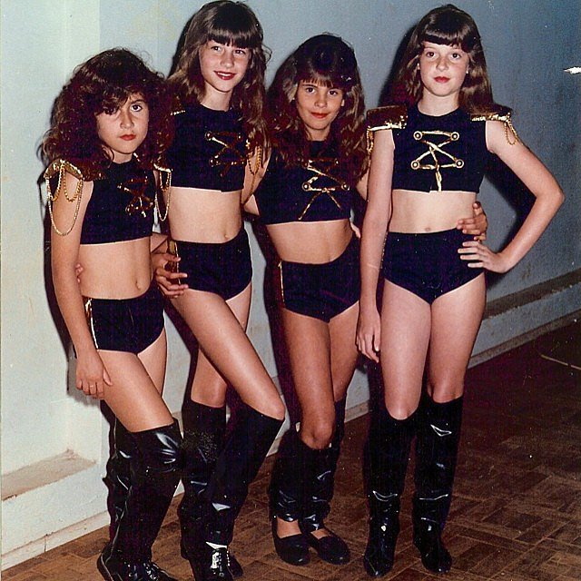Gisele Bündchen (second from the left) and her pals donned matching costumes when this picture was taken in 1992.  Source: Instagram user giseleofficial