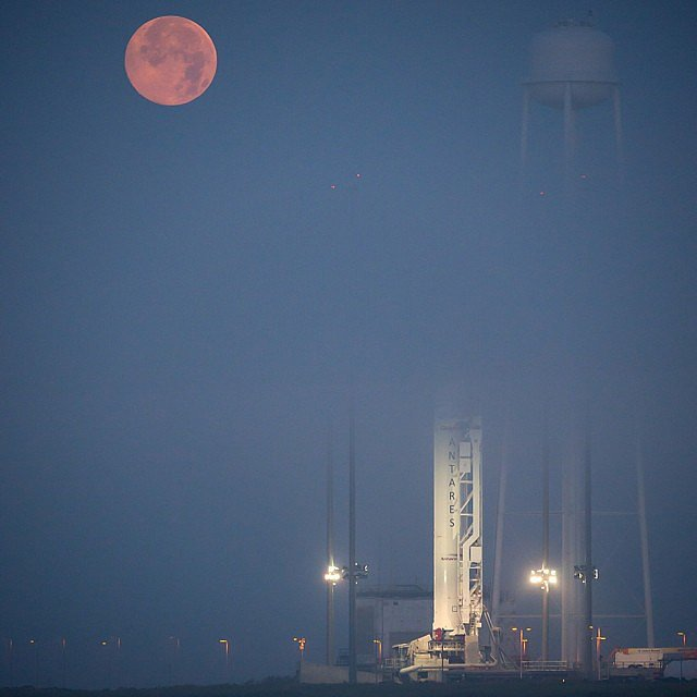 NASA's Wallops Flight Facility in Virginia had a perfect view of the supermoon ahead of the Antares rocket launch.  Source: Instagram user NASA