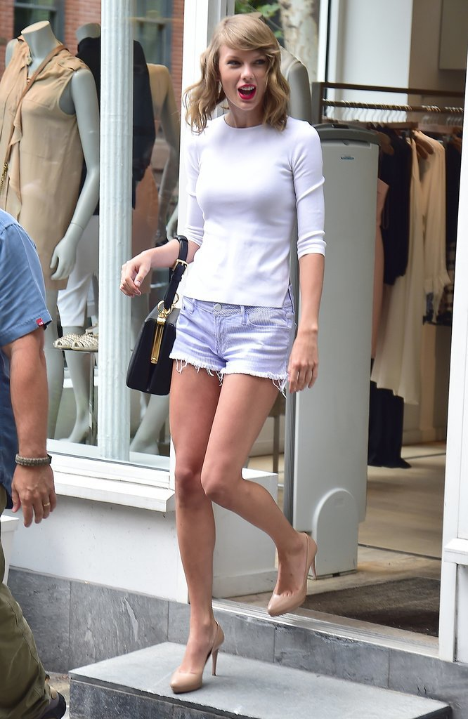 Taylor Swift was excited in NYC on Tuesday.