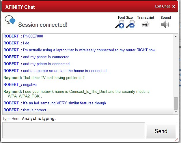 """An awkward moment with Comcast online tech support..."""