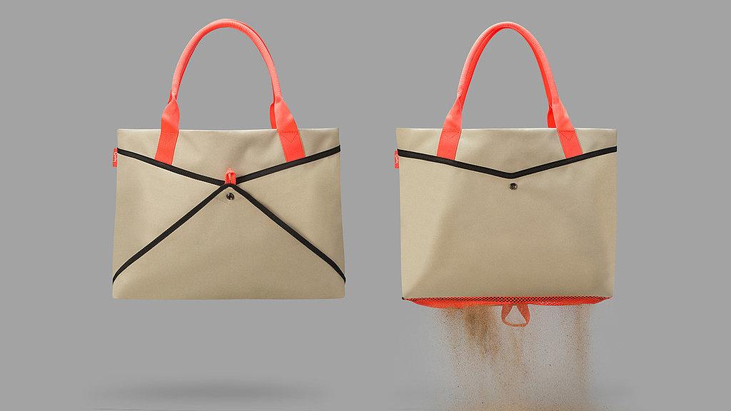 Mesh bottom tote bag