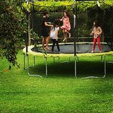 Poet and Jagger Moon Frye had a jumping party on their trampoline. Source: Instagram user moonfrye