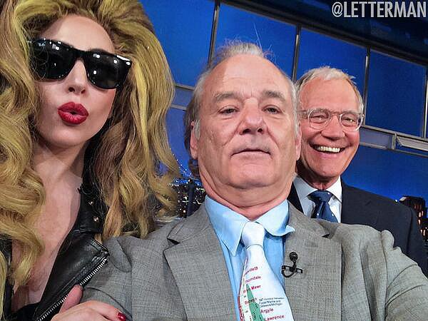 Here's what happened when Lady Gaga and Bill Murray visited Late Show With David Letterman in April 2014. Source: Twitter user Letterman