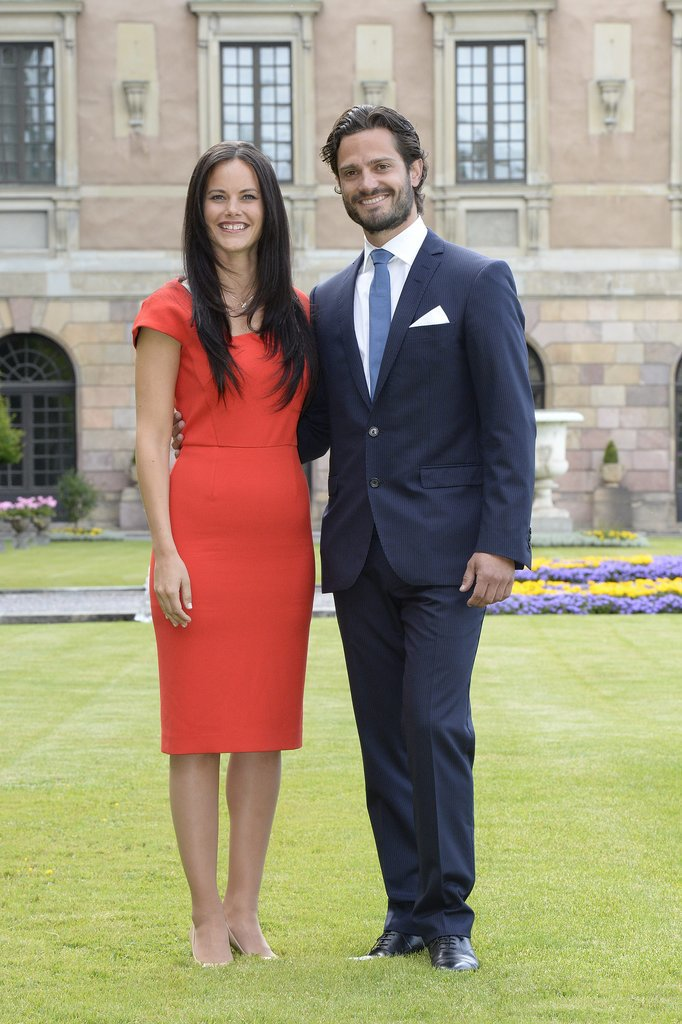 Prince Carl Philip of Sweden and Sofia Hellqvist posed for pictures as part of a press statement to announce their engagement in June 2014.
