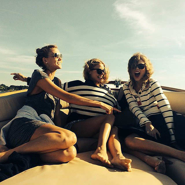 Meanwhile, this is how Taylor and Karlie do the boat scene. Nautical stripes and an easy knit dress make this so very classic and chic. Source: Instagram user taylorswift