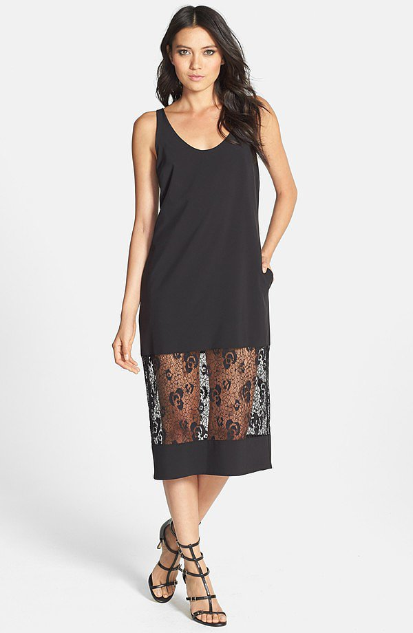 June & Hudson Lace Panel Tank Dress