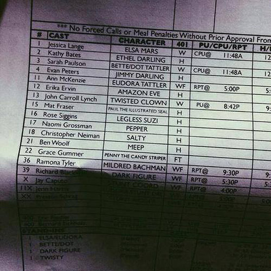 Is This the Character List For American Horror Story: Freak Show?