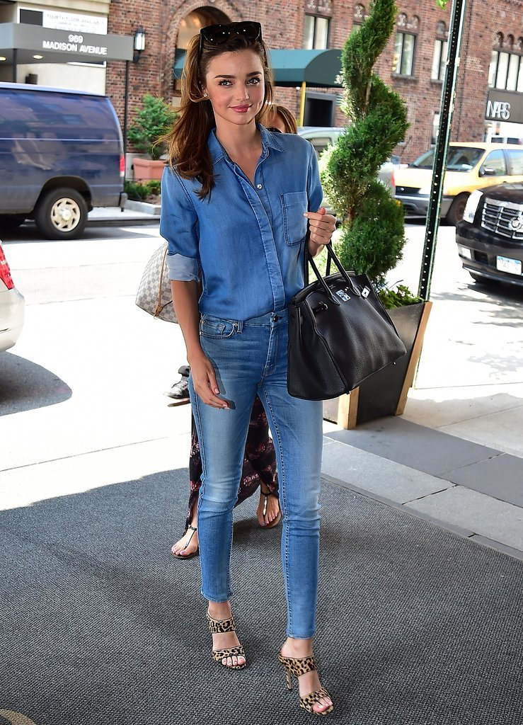 Dressed in head-to-toe 7 For All Mankind, Miranda nailed the Canadian Tuxedo. We're not sure what goes better with all-denim than a classic print like leopard and a wear-everywhere Birkin bag.