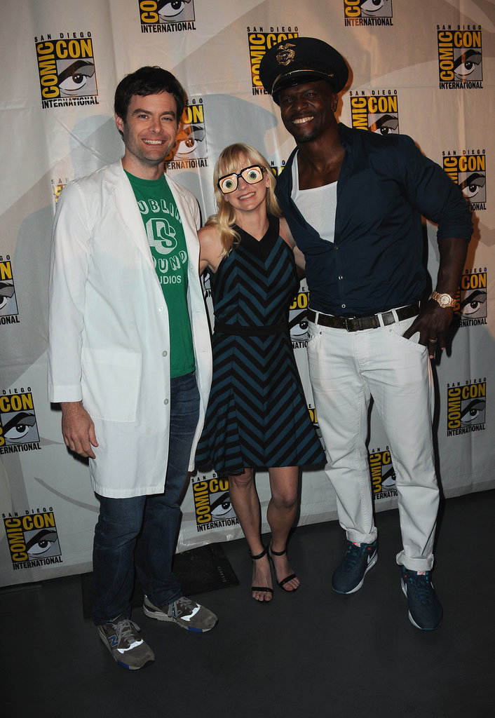 Bill Hader, Anna Faris, and Terry Crews donned silly accessories for the panel of their animated film, Cloudy with a Chance of Meatballs 2, in 2012.
